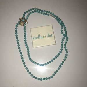 STELLA & DOT turquoise bead necklace with brooch